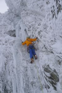 James on the icy first pitch of Cleft Gully